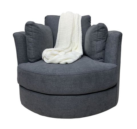Cozy Cuddle Swivel Chair In Storm Grey - LOUNGE
