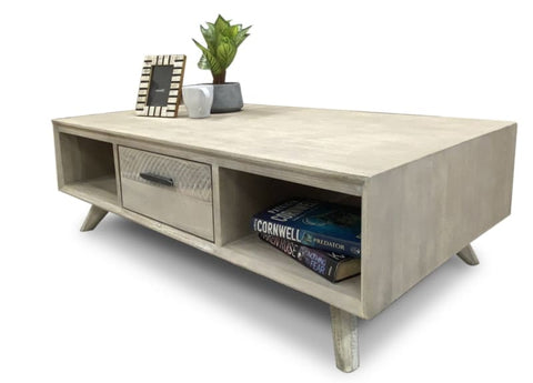 Croft Hardwood Coffee Table In Grey Wash