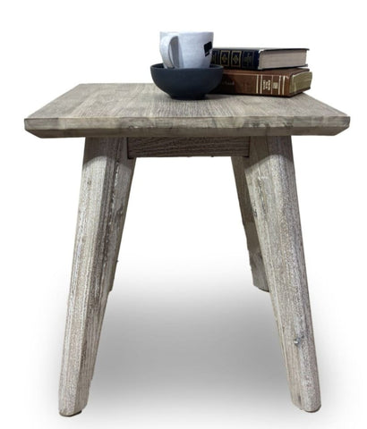 Croft Hardwood Lamp Table In Grey Wash