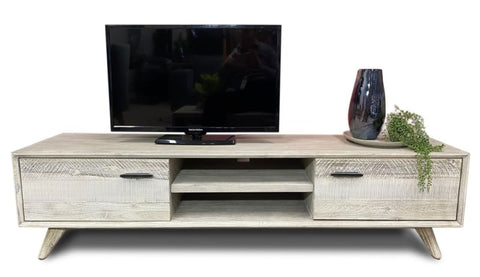 Croft Hardwood T.V. Unit In Grey Wash