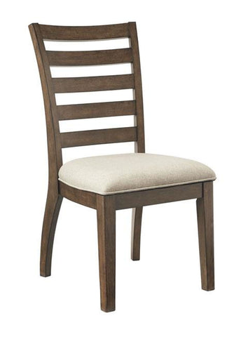 Flynnter dining chair in medium brown finish with upholstered seat - DINING