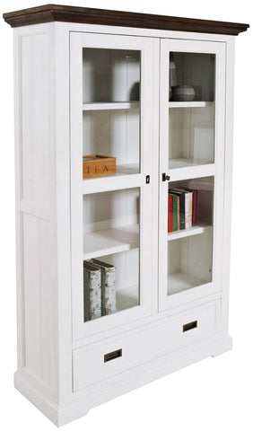 Paris Bookcase With Glass Doors In Two Tone Finish - OCCASIONAL