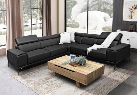 Houston modular lounge with adjustable backs in thick black leather - LOUNGE