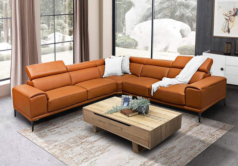 Houston modular lounge with adjustable backs in thick orange leather - LOUNGE