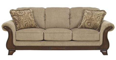Lanett 3 Seater Sofa In Barley With Timber Style Arms - LOUNGE