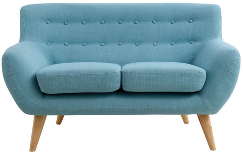 Maddie 2 Seater Sofa In Aqua #68S Fabric With Natural Leg - LOUNGE