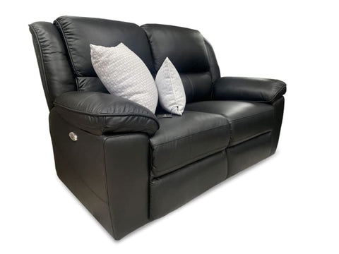 Michigan 2 seater with 2 electric recliners in black leather