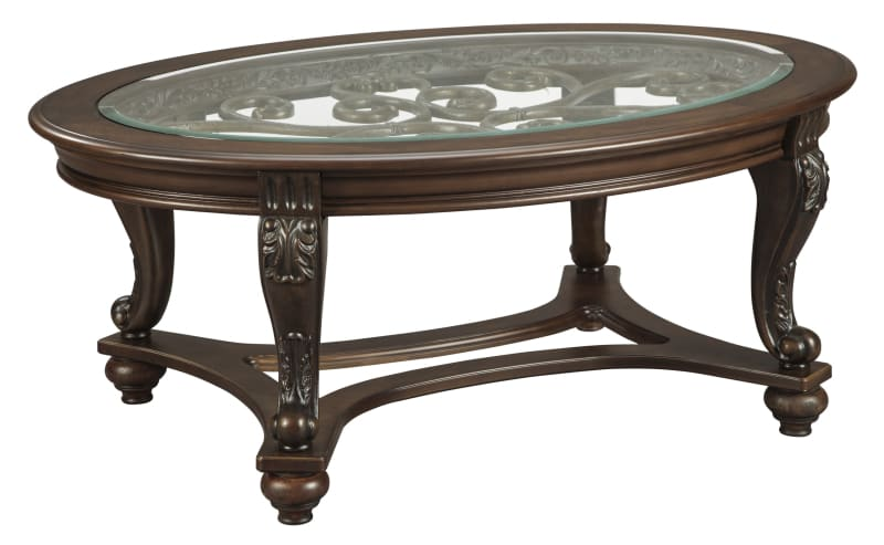 Our Furniture Warehouse Norcastle Oval Coffee Table Glass Top