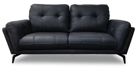 Santosa 100% Leather 2 Seater Sofa In Black