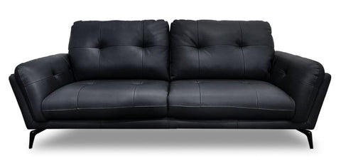 Santosa 100% Leather 3 Seater Sofa In Black
