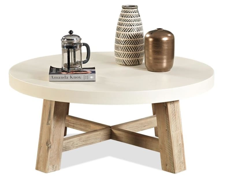 Our Furniture Warehouse Toledo Round Coffee Table With White Concrete Tops And Acacia Base [ 997 x 1300 Pixel ]
