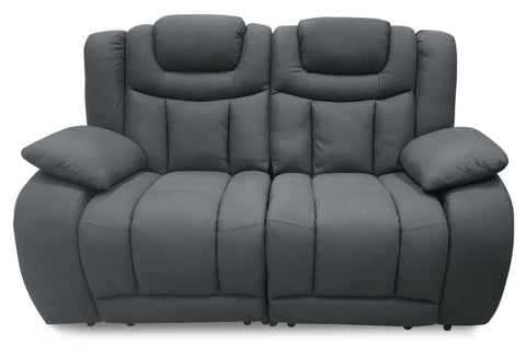 Vegas 2 seater with electric recliners and adjustable headrests in dark grey rhino suede - LOUNGE