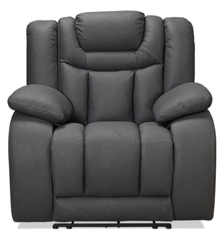 Vegas electric recliner with adjustable headrest in dark grey rhino suede - LOUNGE