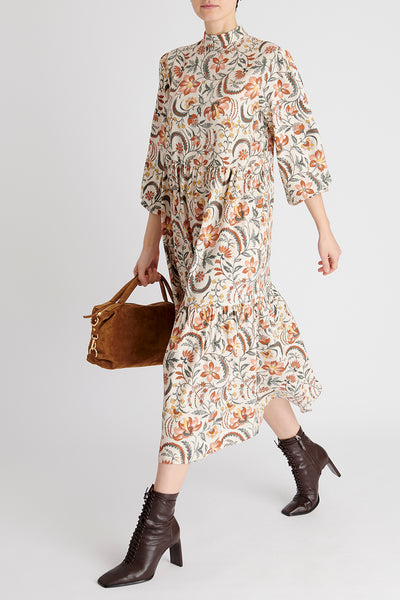 Florence Dress in Beige Floral