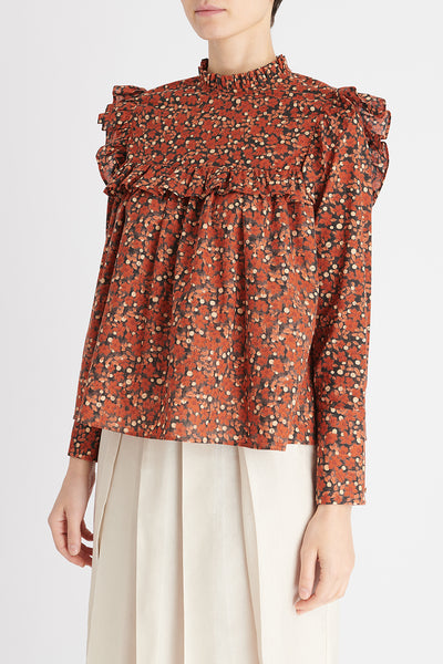 Olivia Top in Terracotta Floral