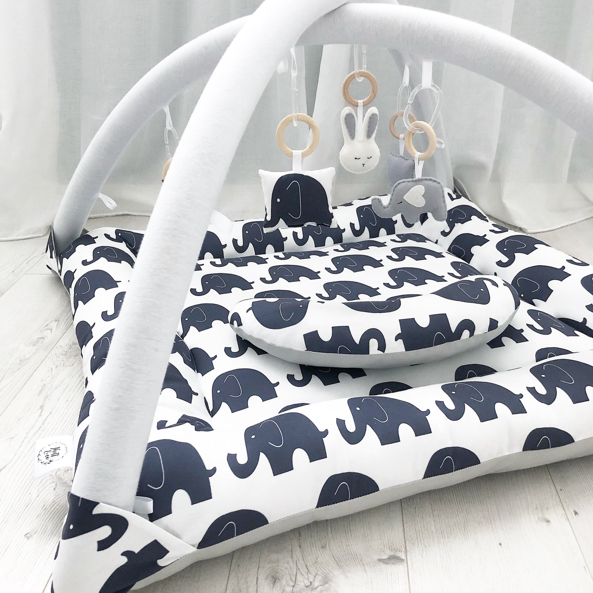 Activity Playmat - Navy Jumbo Elephants