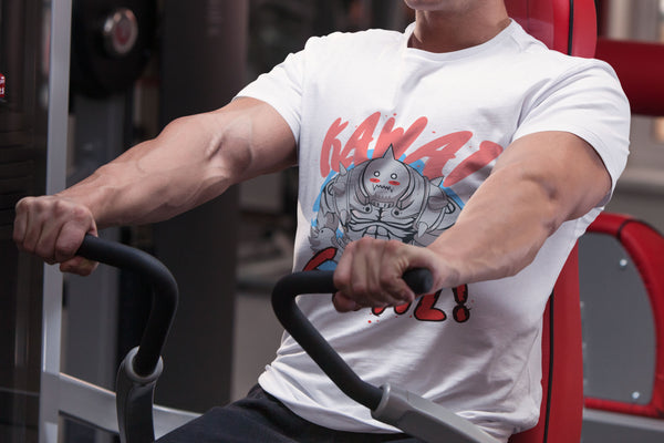 """Alphonse: Kawai Gainz"" - FMA Geeky Anime Gym Gear. Fitness T-Shirt or Tank. - Geek Print"