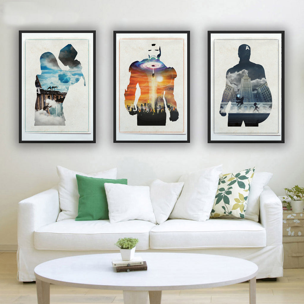"""Stark, Rogers, Thor"" - 3 Piece Bundle Deal - Comic Book Inspired Minimalist Art Prints - Geek Print"