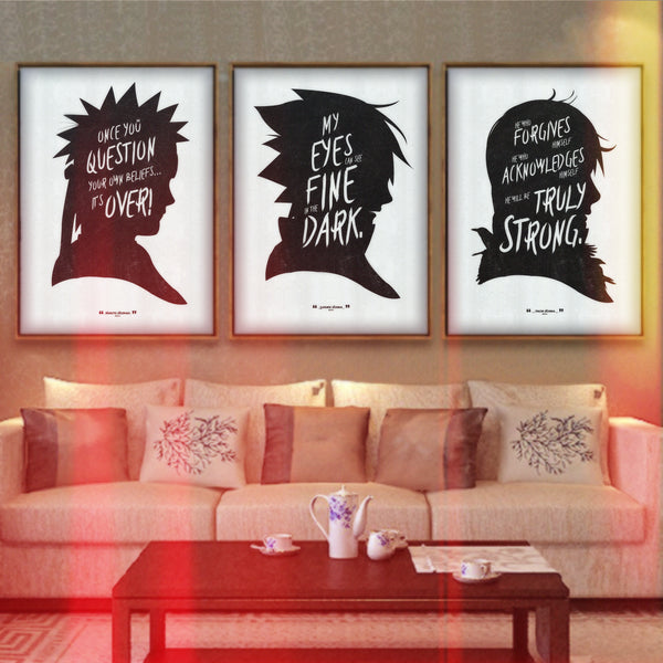 """Words of the Shinobi"" - Discount Poster Bundle - Anime Inspired Motivational Art Poster Prints - Geek Print"