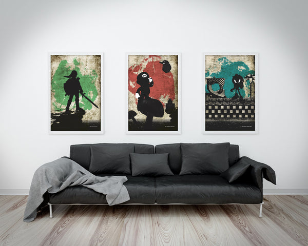 """Hero of Time/Kingdom Plumber/Fastest Thing Alive"" - 3 Piece Bundle Deal - Video Game Inspired Minimalist Art Prints - Geek Print"