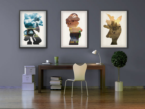 """Mascot Collection B"" - 3 Piece Bundle Deal - Video Game Inspired Minimalist Art Prints - Geek Print"