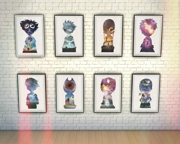 """Chosen Children - Discount Print Bundle - Digidestined Anime and Manga 8 Piece Minimalist Poster Print Set. - Geek Print"