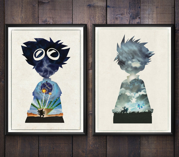 """Courage and Friendship"" - Discount Bundle - Anime & Manga Inspired Art Poster Prints - Geek Print"