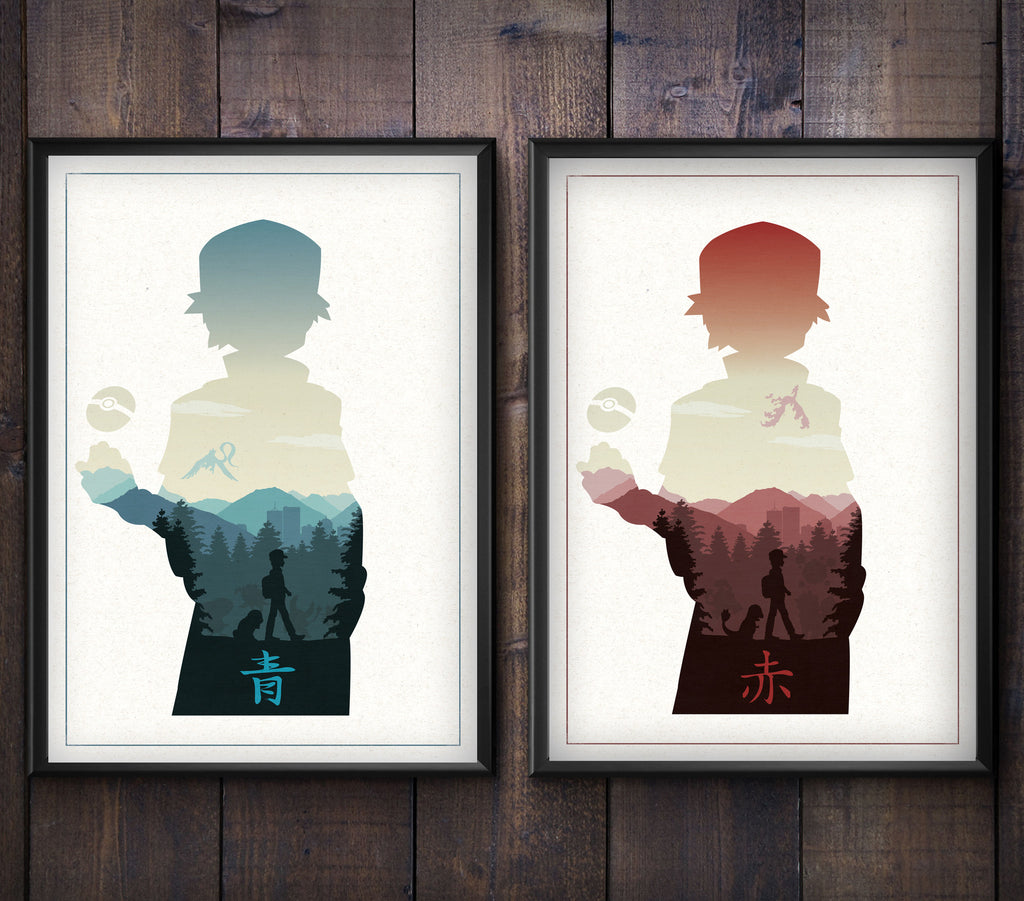 """PKMN Red & Blue Print Set"" - Discount Bundle - Video Game Inspired Art Poster Prints - Geek Print"