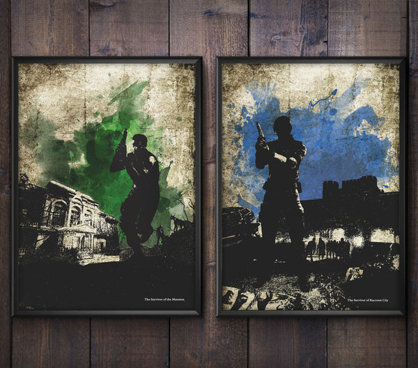 """Survivor of the Mansion/City"" - Survival Horror Discount Bundle - Video Game Inspired Art Poster Prints - Geek Print"