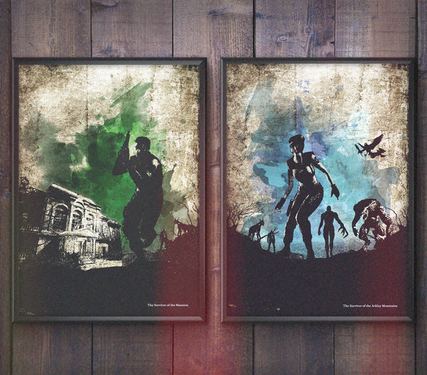 """Survivor of the Mansion/Mountains"" - Survival Horror Discount Bundle - Video Game Inspired Art Poster Prints - Geek Print"