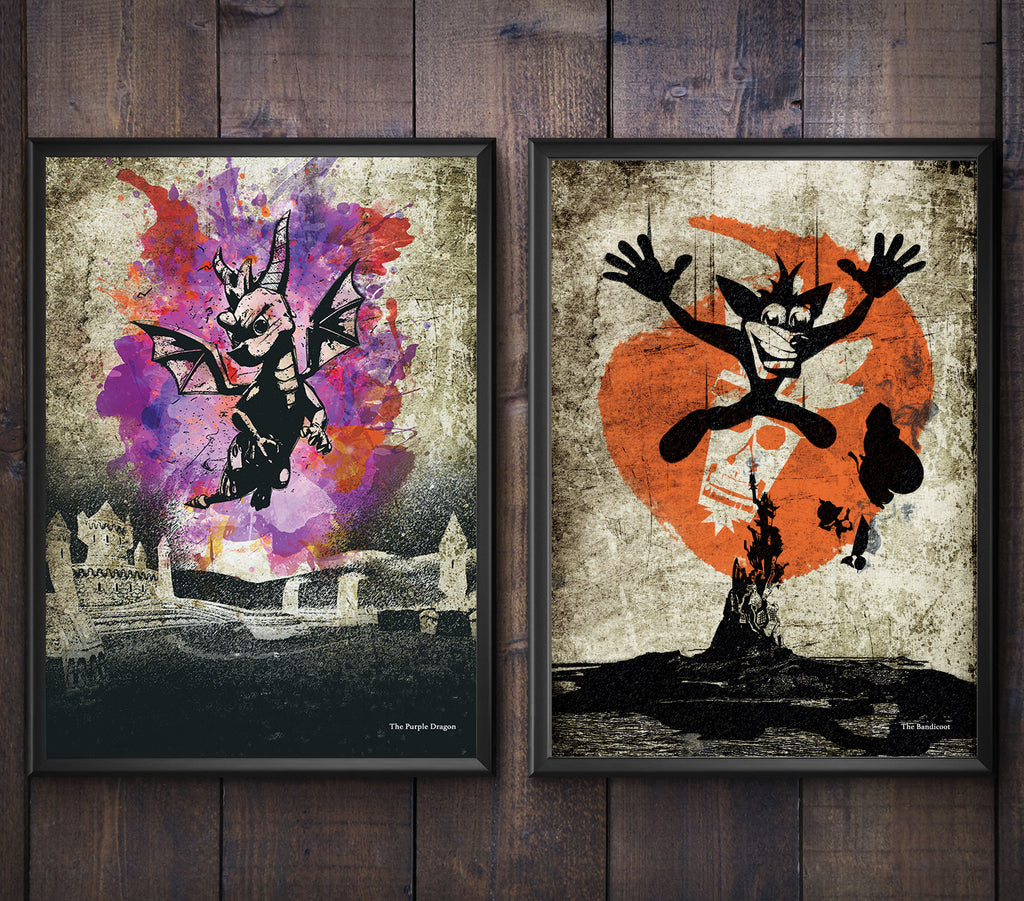 """The Purple Dragon/The Bandicoot"" - Discount Bundle - Video Game Inspired Minimalist Art Poster Prints - Geek Print"