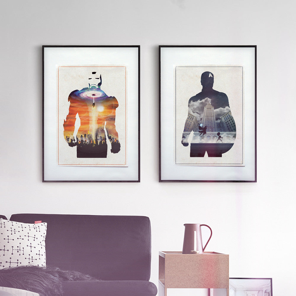 """STARK & ROGERS"" - Discount Bundle - Superhero Movie Inspired Art Poster Prints - Geek Print"