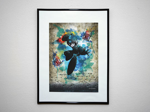 """The Blue Bomber"" - Minimalist Video Game Inspired Art Poster Print - Geek Print"