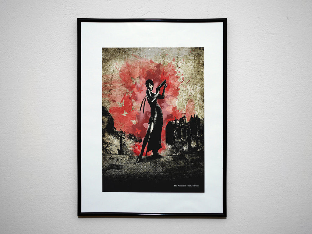 """Woman In The Red Dress"" - Video Game Inspired Art Poster Print - Geek Print"