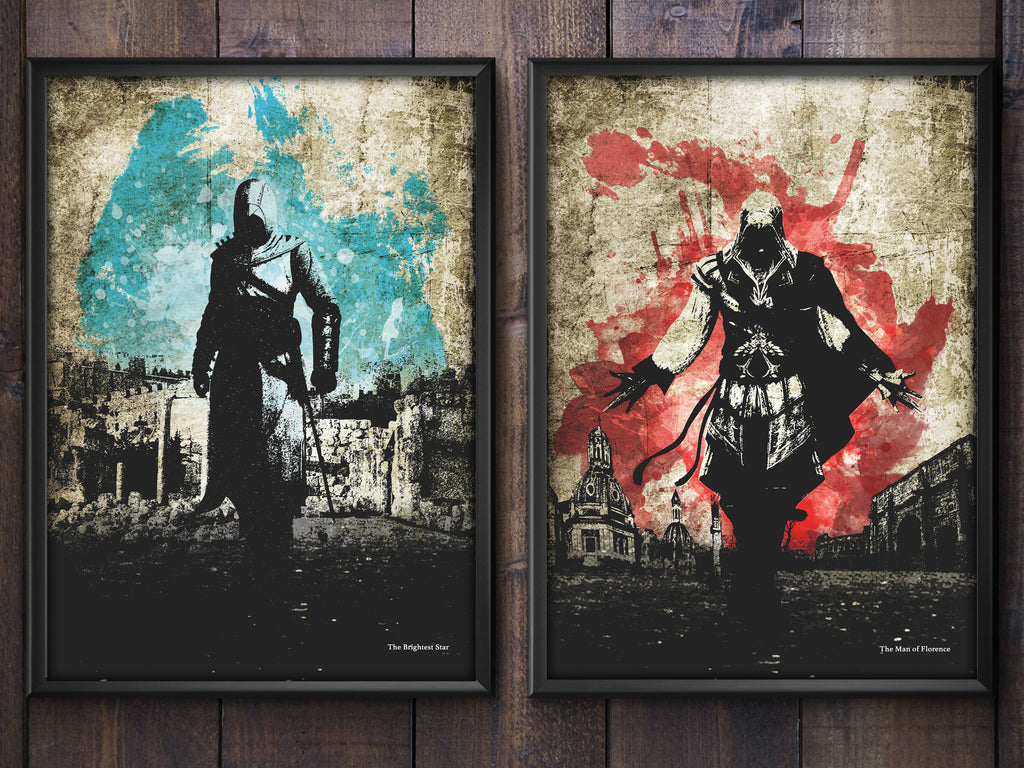 """The Brightest Star/The Man of Florence"" - Discount Bundle - Assassins Video Game Inspired Art Poster Prints - Geek Print"