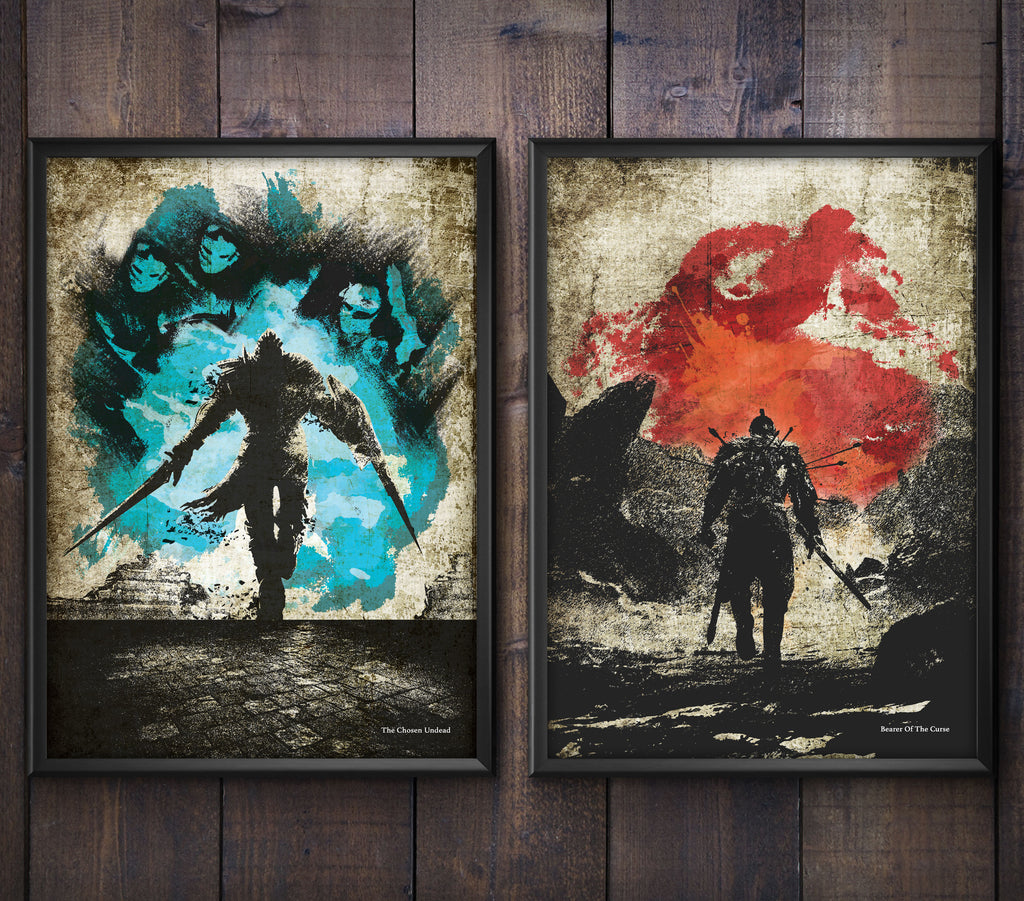 """The Chosen Undead"" and ""Bearer of the Curse"" - Discount Bundle - DS Video Game Inspired Minimalist Art Poster Prints - Geek Print"