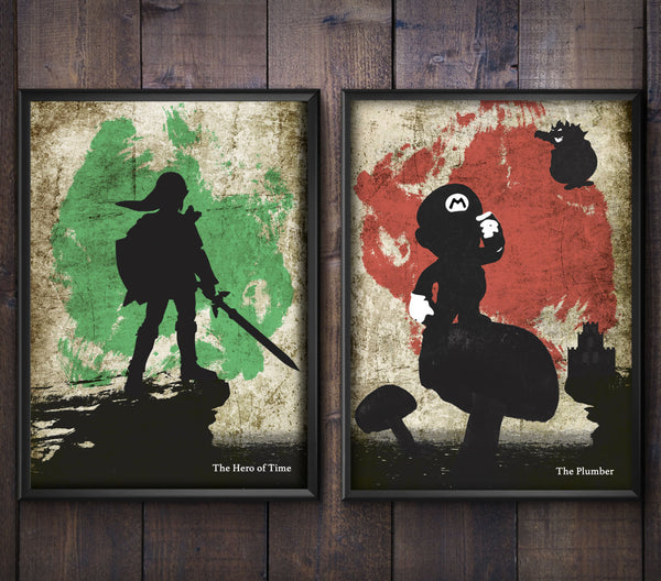 """Kingdom Plumber/The Hero of Time"" - Discount Bundle - Video Game Inspired Art Poster Prints - Geek Print"