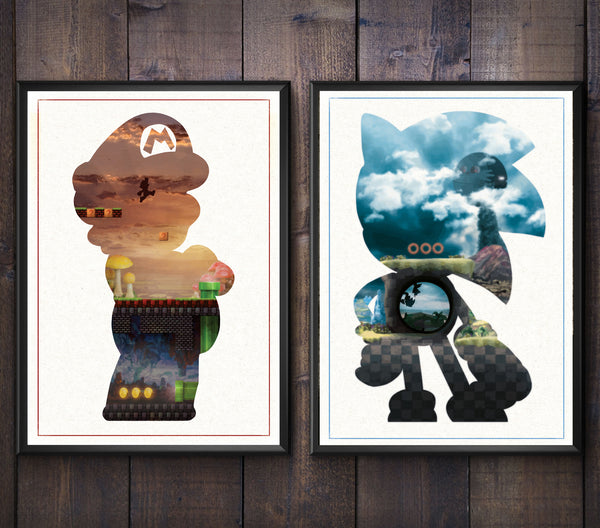 """Speed Demon & The Plumber"" - Discount Bundle - Video Game Inspired Art Poster Prints - Geek Print"
