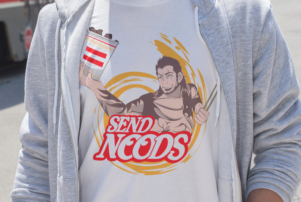 """SEND NOODS"" - Video Game Geek Gear. Final Fantasy XV Gladiolus Amicitia T-Shirt or Tank. - Geek Print"