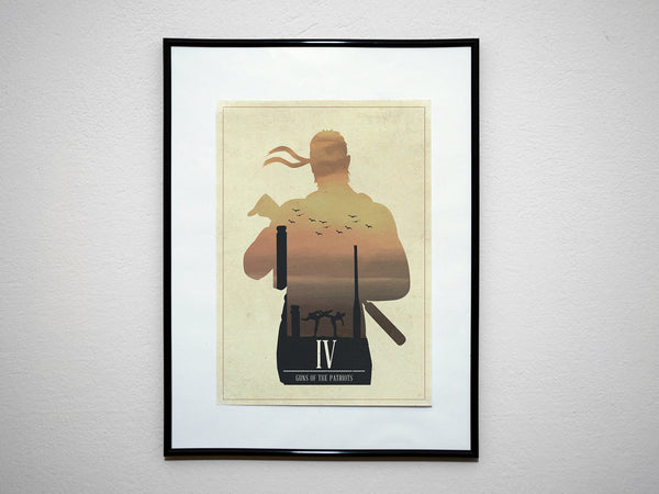 """Guns of the Patriots"" - Video Game Inspired Minimalist Art Poster Print - Geek Print"