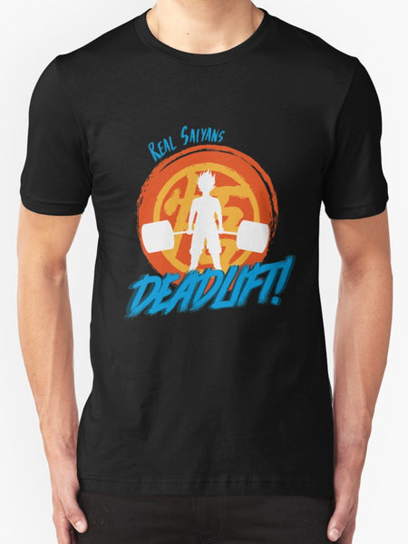 """Real Saiyans Deadlift"" - Geeky Anime Gym Gear. Dragon Ball Z Super Workout T-Shirt or Tank. - Geek Print"