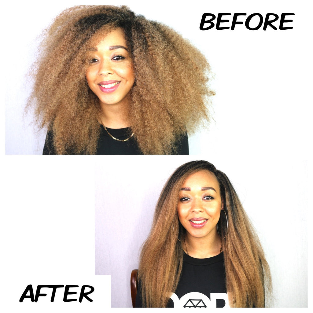 Learn how to blow-dry our faux 'fro hair straight!