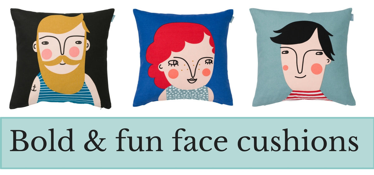 Bold and Bright Swedish face cushions