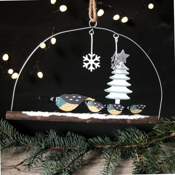 Quail family hanging Christmas decoration