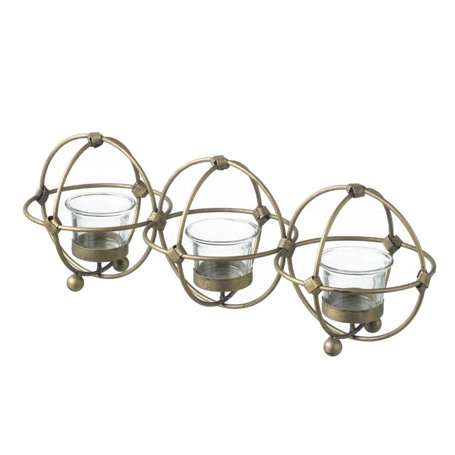 3 Sphere gold wire candle holder