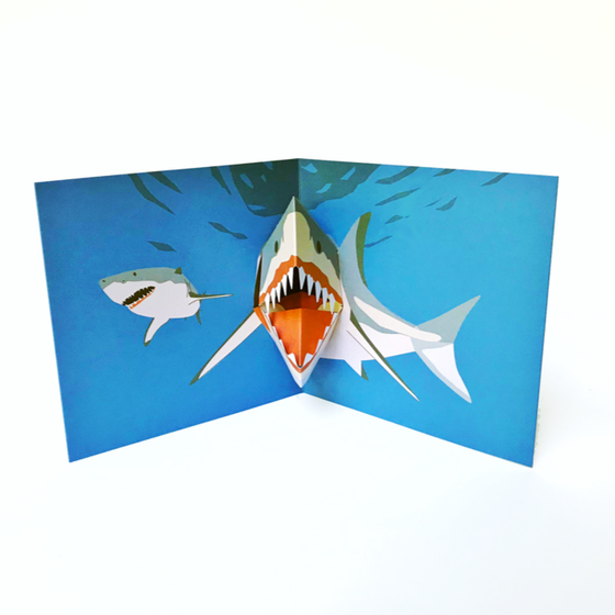 Shark pop up 3D greetings card