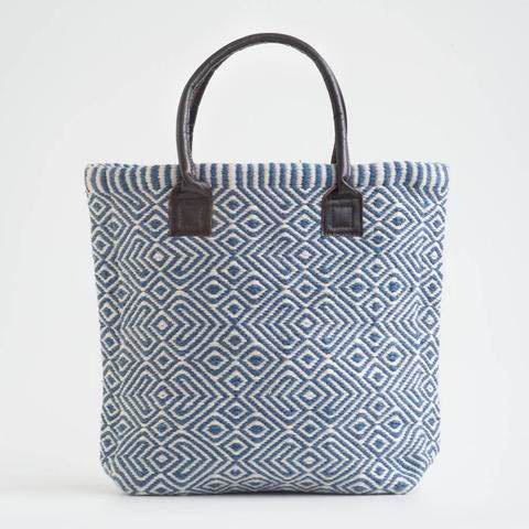 Ladies shopper bag in blue made from re-cycled bottles!