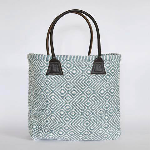 Womens large shopper with leather handles -made from re-cycled plastic bottles!