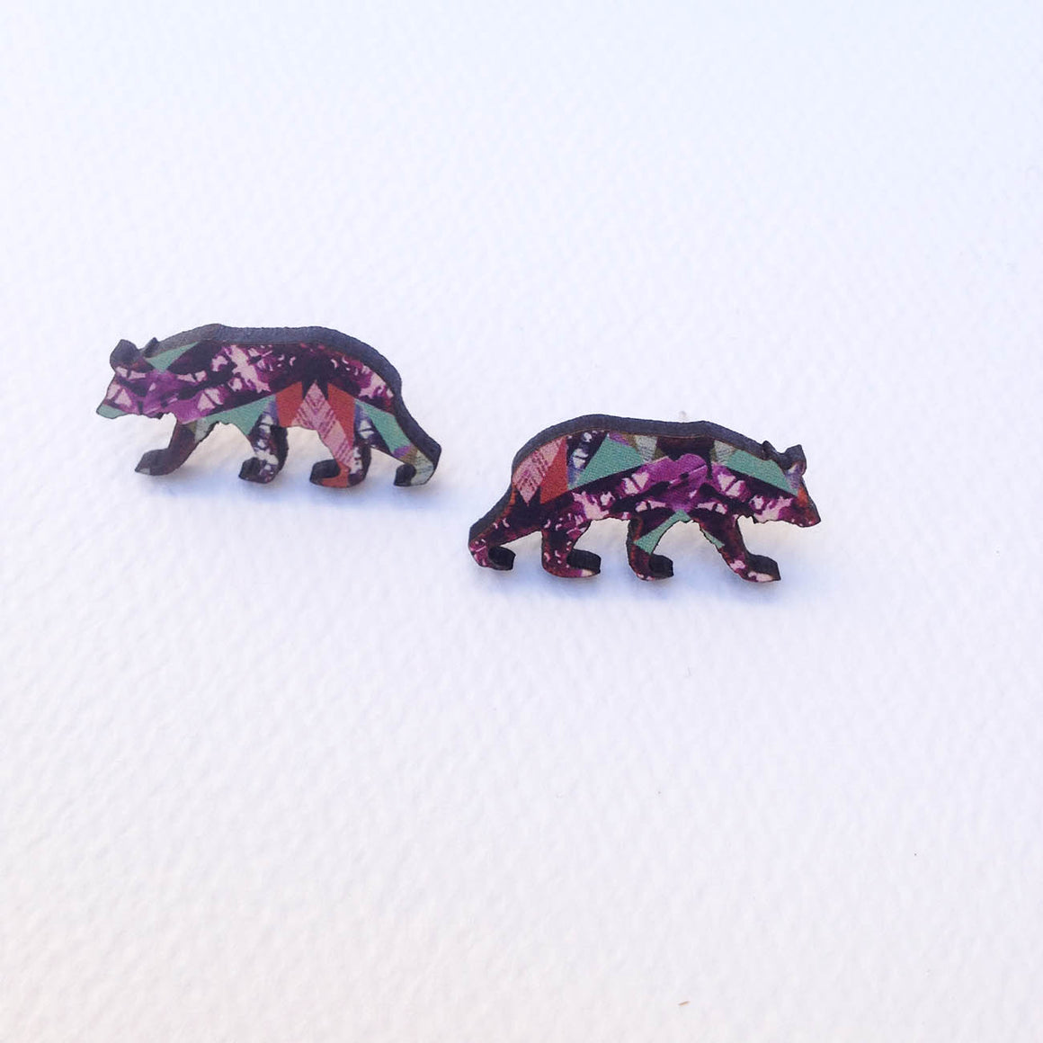 Cute bear stud earrings wooden bear jewellery - Mica Peet