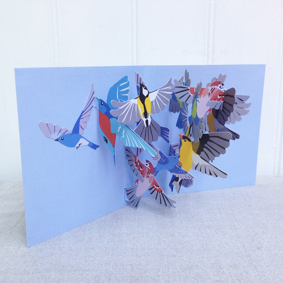 Pop out 3D Flock of Birds greetings card